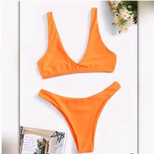 Neon Orange Plunging Neck Bikini